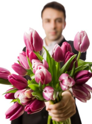 Guy with flowers