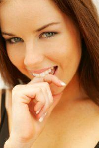 pretty girl blushingl