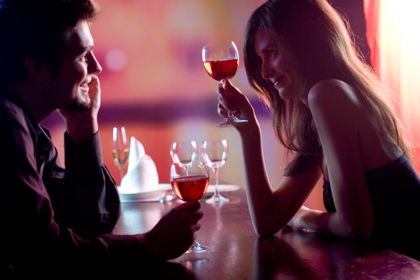 romantic couple with wine